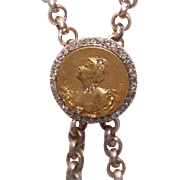 French ART NOUVEAU 18K Gold & Rose Cut Diamond Necklace Slide/Enhancer!