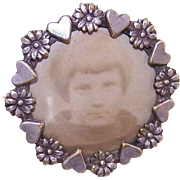 Antique FRENCH Silverplate Picture Pin - Hearts & Flowers!
