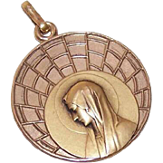 Art Deco FRENCH Gold Filled Pendant - Virgin Mary - ORIA!