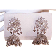 Vintage Silver MIDEAST Tribal Jhumkas Filigree Earrings with Bells!
