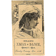 VICTORIAN Trade Card - Grand Christmas Dance, Palmer's Hall, Dec. 25th!