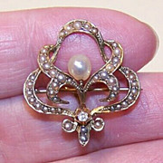 ANTIQUE VICTORIAN 14K Gold, Diamond & Natural Pearl Watch Pin/Brooch