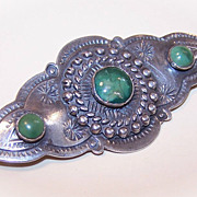 1930s Native American/Southwest Indian STERLING SILVER & Turquoise Pin!