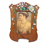C.1900 Souvenir FRENCH Painted Olive Wood Picture Frame!