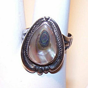 Vintage NATIVE AMERICAN/Southwest Sterling Silver & Abalone Ring!