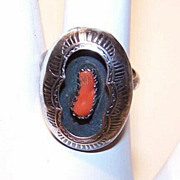 Vintage STERLING SILVER & Red Coral Ring - Native American/Southwest Style!