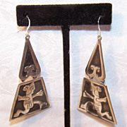 Big & Bold! 1950s STERLING SILVER Drop Earrings from Mexico!