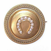 ANTIQUE VICTORIAN 14K Gold & Natural Pearl Locket Pin/Brooch with Horseshoe!