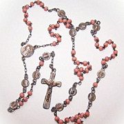 SOLD 1920s FRENCH Silver Gilt & Salmon Coral Rosary with Pater Medals and Original Leather Pou