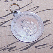Antique FRENCH SILVER Religious Medal - Virgin & Child!