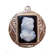 Vintage 14K Gold & Hardstone Cameo Watch Fob Charm!