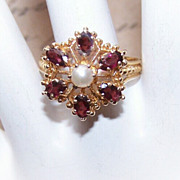 VICTORIAN REVIVAL 14K Gold, Garnet & Cultured Pearl Ring!