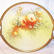 """Early 1900s Hand Painted LIMOGES FRANCE 11-1/2"""" Plate with Handles - Artist Signed ..."""