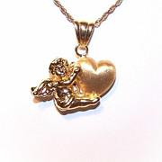 Sweet ITALIAN 18K Gold Pendant - Cupid/Putti/Cherub Holding a Heart!!