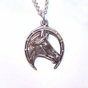 Vintage STERLING SILVER Pendant or Charm - Horse Within a Horseshoe!