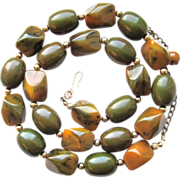 Large Marbled Bakelite Beads Necklace