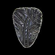 Black Bakelite Floral Carved Dress Clip