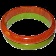 Pair of Marbled Bakelite Bangle Bracelets