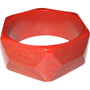 Wide Shaved Carved Geometric Bakelite Bangle Bracelet
