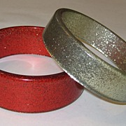 Silver and Red Lucite Glitter Bangle Bracelets