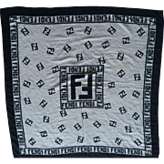 Vintage Black and White Silk Fendi Logo Scarf