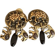 Vintage Mary Demarco Clip on Elephant Earrings