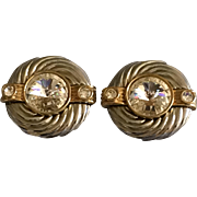 Vintage Park Lane large Rhinestone Sparkler Clip On Earrings