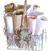 Vintage wire Basket with 12 Linen and Cotton Embroidered Hand Towels