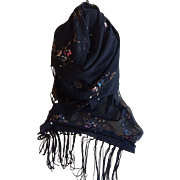 Vintage Hand Painted Black Fringed Chiffon Wrap or Scarf