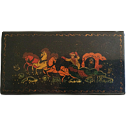 Hand Painted Black Lacquer Paper Mache Russian Box