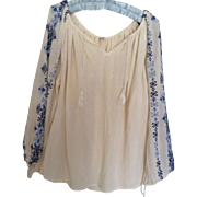 Flower Power Boho embroidered  peasant blouse
