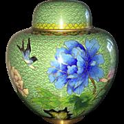 Vintage cloisonne ginger jar in avocado green