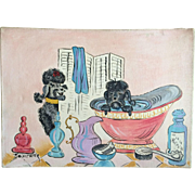 SOLD Vintage Poodle Painting on Canvas Black and Pink