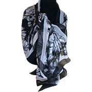 Vintage Black and White Silk Chiffon Brighton Shawl Scarf