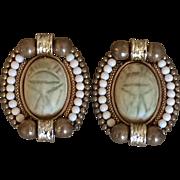 Vintage Clip On Scarab Earrings