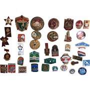 35 Vintage Russian Pins Tourist and Sport and Political and Commerce and Space
