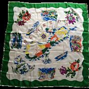 Vintage 1950s silk souvenir scarf from Bermuda