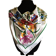 Bright butterflies and beautiful flower print scarf