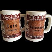 Vintage Pair of Ceramic Hawaiian Tutu Grandmother and TutuKane Grandfather Mugs