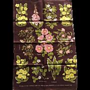 SOLD Vintage Unused Linen Flowers of Rural England Tea Towel Designer Amanda Cobb