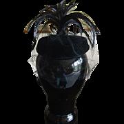 1950s Black velvet feathered veiled cocktail hat