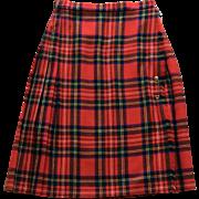 Vintage Scottish Plaid Wool Kilt Made in Great Britain