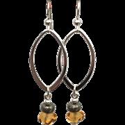 Sterling silver oval murano glass pebble earrings