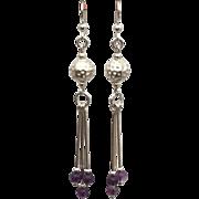 Sterling silver semi precious amethyst bead earrings