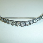 SOLD Antique Victorian Silver & Paste Crescent Brooch