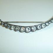 SOLD Antique Victorian Silver & Paste Crescent Brooch
