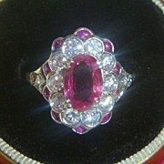 SOLD Vintage Platinum Pink Sapphire & Diamond Ring