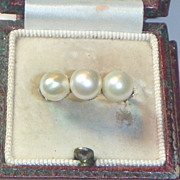 SOLD Vintage Art Deco 14 K & Natural Saltwater Pearl Ring