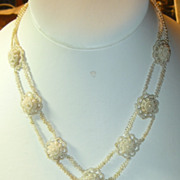 SOLD Antique Georgian Seed Pearl Necklace With Blonde Hair  & Gold Clasp