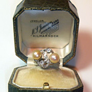 SALE Vintage Retro Natural Pearl & Diamond Platinum Ring